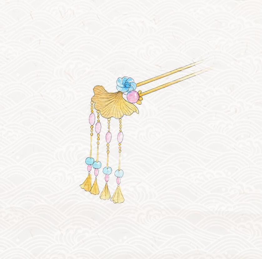 手绘水彩 古风发簪