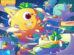 菠萝树拼图插画系列