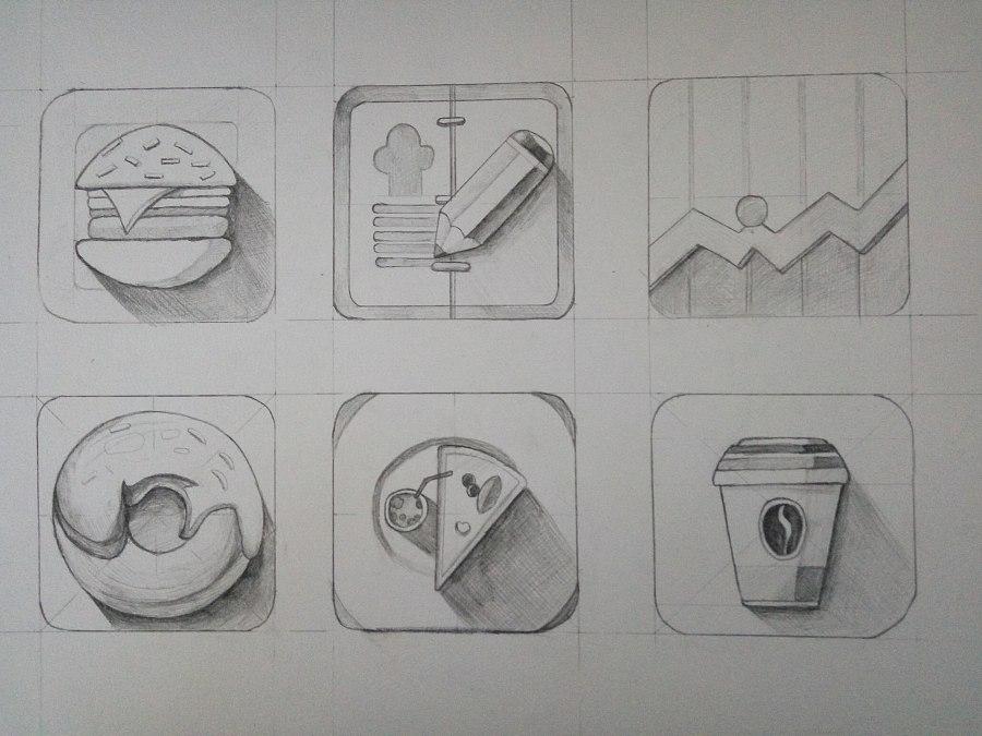 手绘素描图标