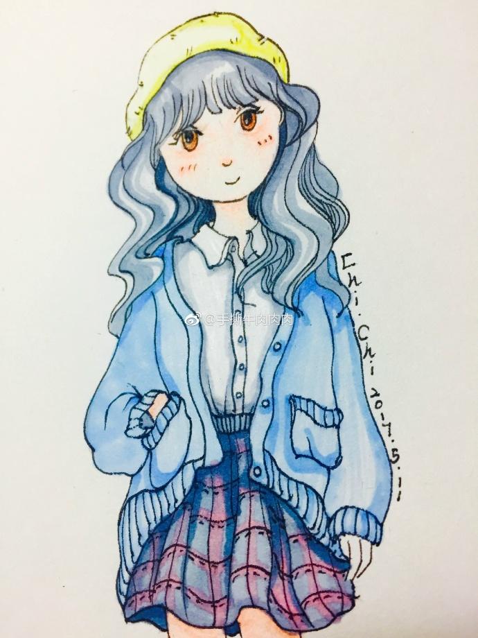 马克笔手绘 可爱女孩纸穿搭