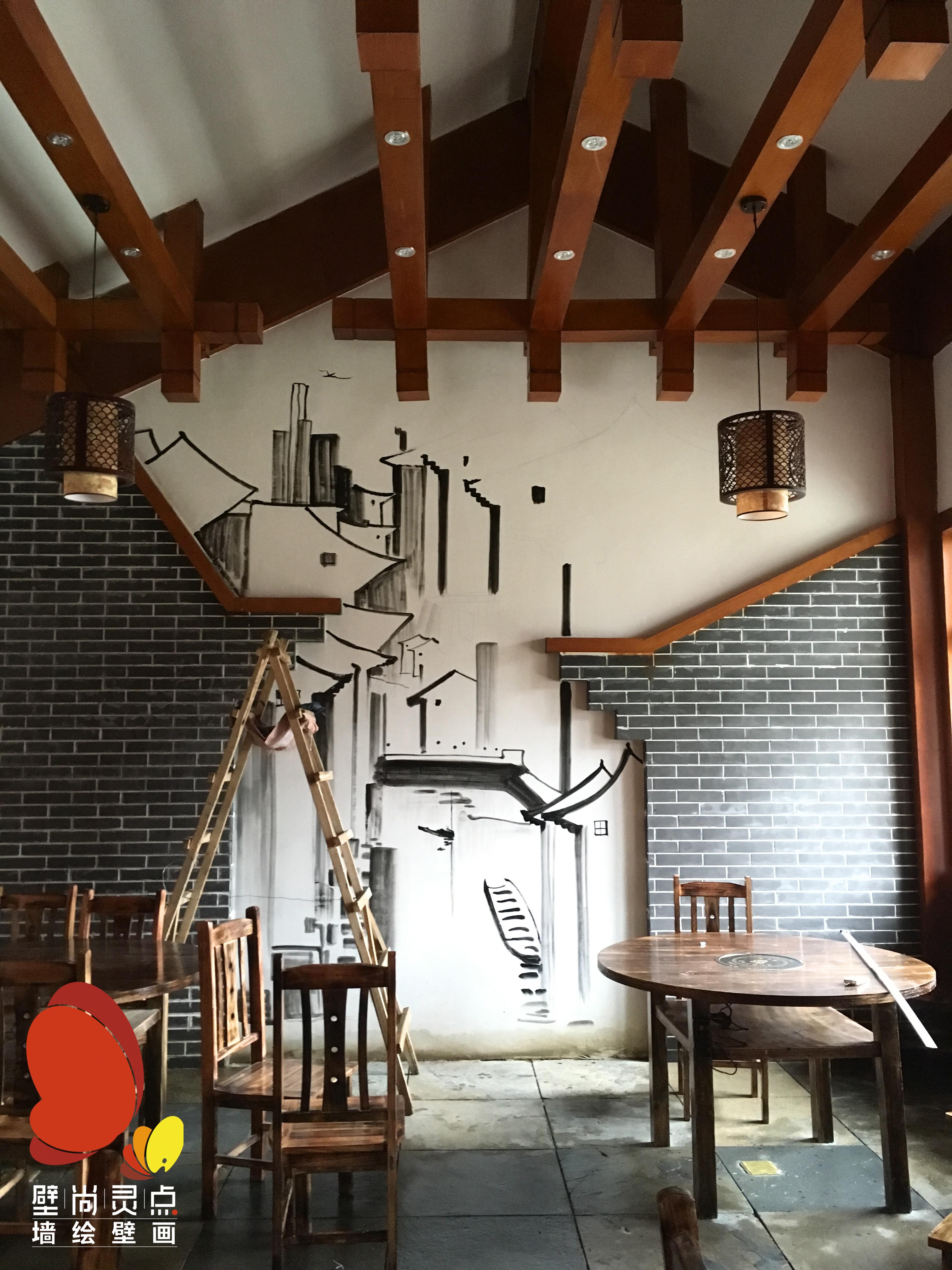 餐馆手绘|其他|墙绘/立体画|壁尚灵点 - 原创作品