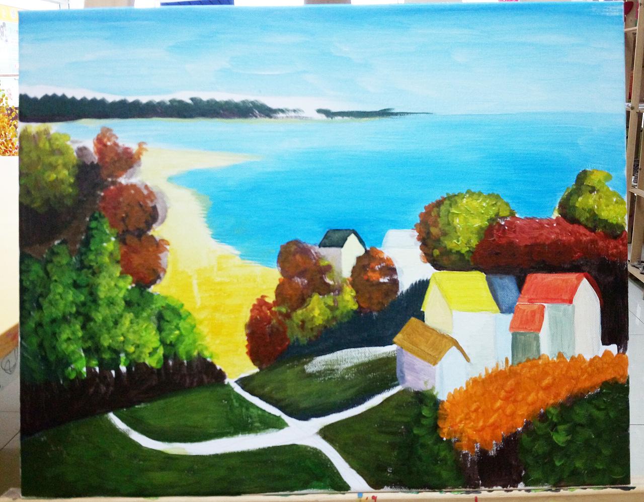 丙烯风景画练习