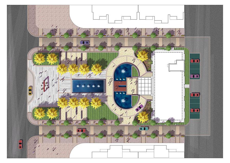 一个售楼处前广场景观设计