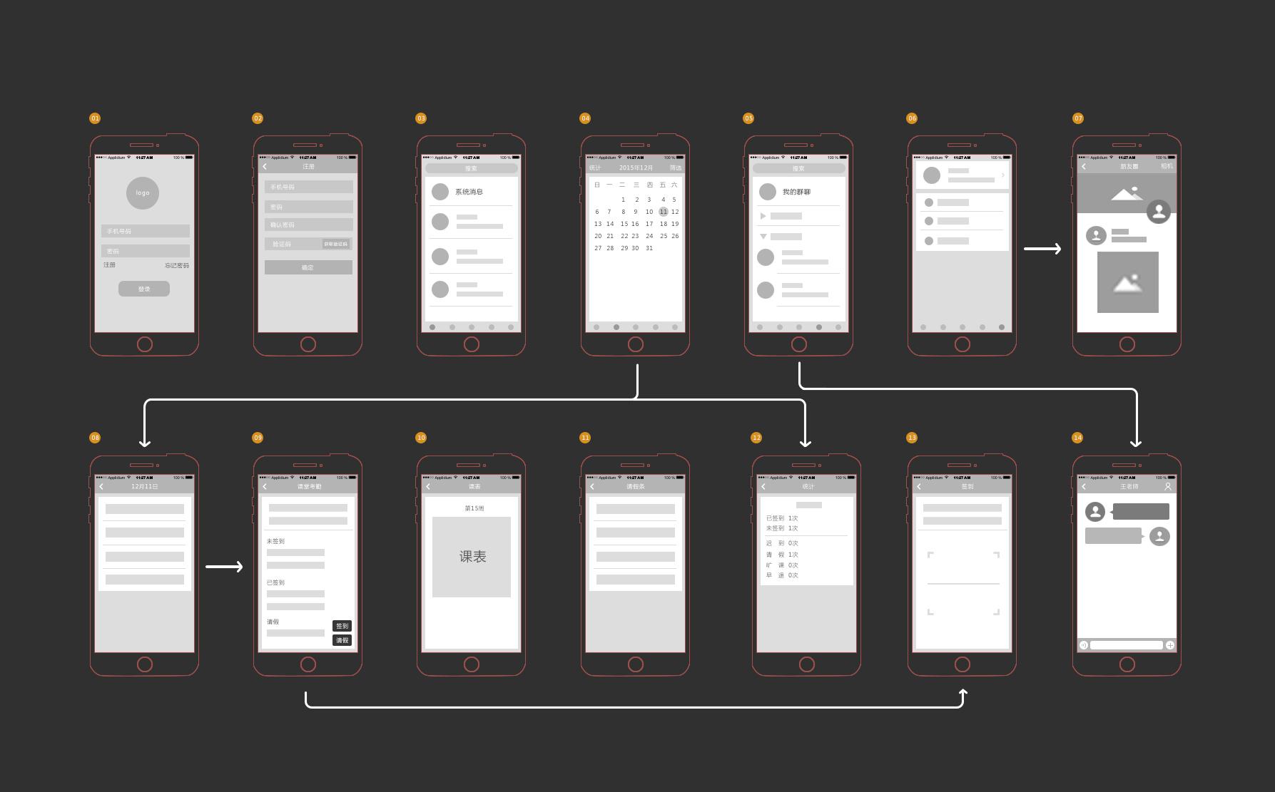 《微考勤》手机app原型——线框设计图图片