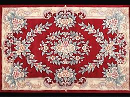 以红色为主打的手工毯
