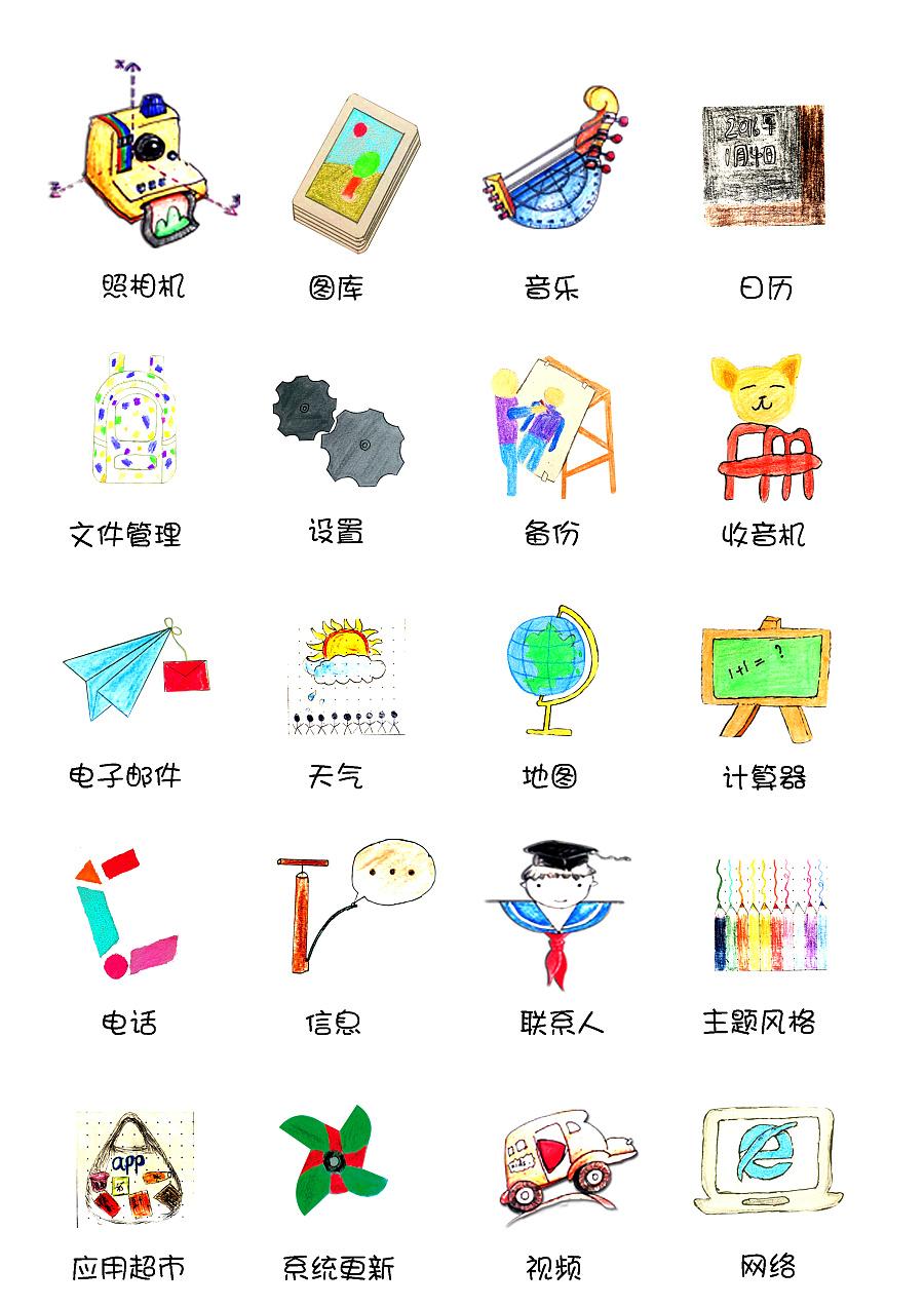 彩铅手绘icon,卡通校园风《朝阳》|图形/图案|平面
