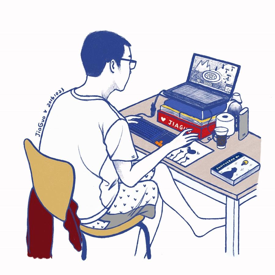 周末在家看男友打游戏|绘画习作|插画|jiaguo