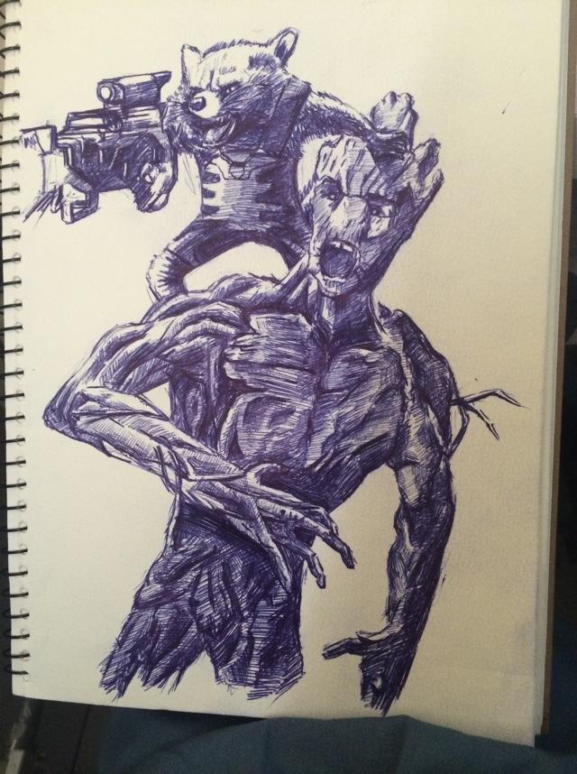 油笔手绘浣熊 格鲁特