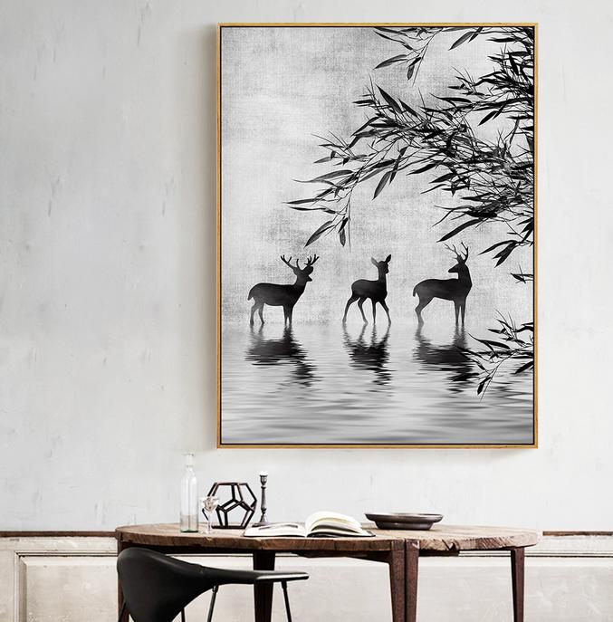 4p黑白意境麋鹿水墨中国风装饰画-鹿