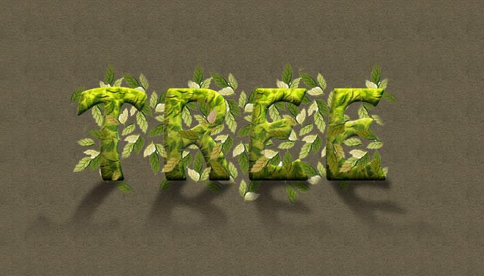 树叶文字|字体/字形|平面|雁子久久