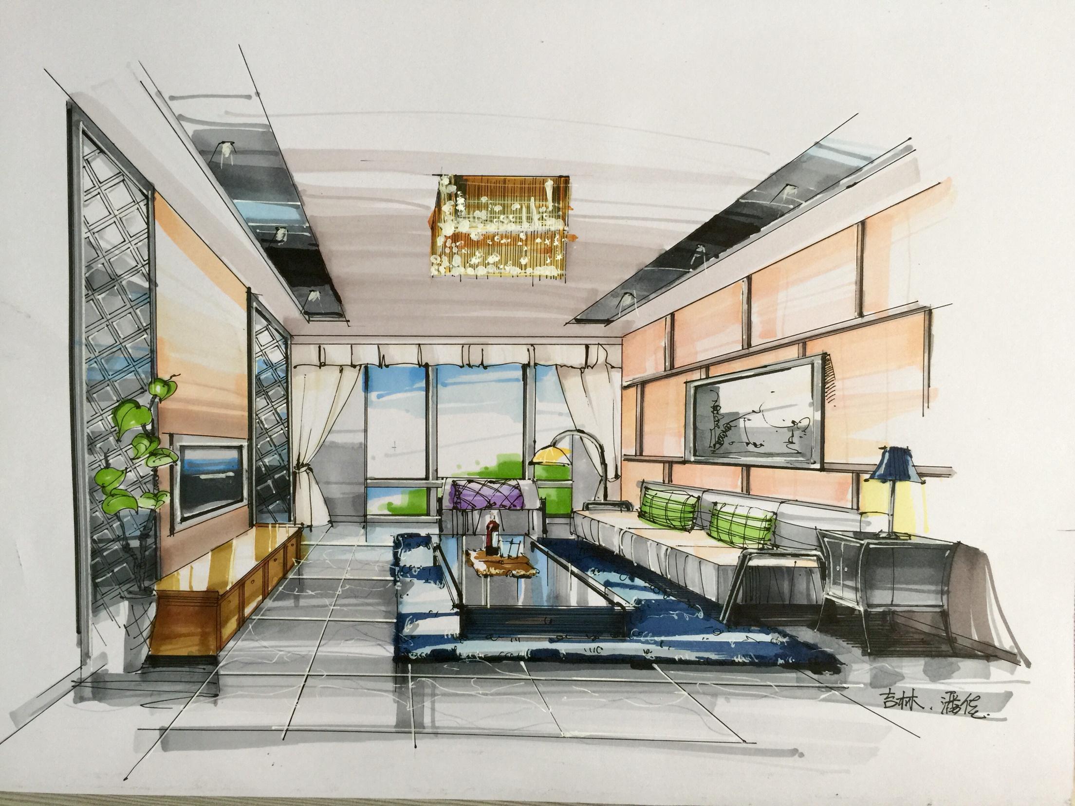 环艺室内设计手绘效果图