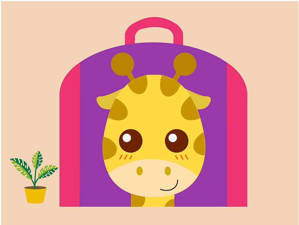动物形象书包图案-长颈鹿