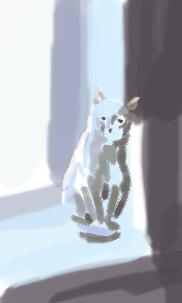 白色壁纸简约猫手绘