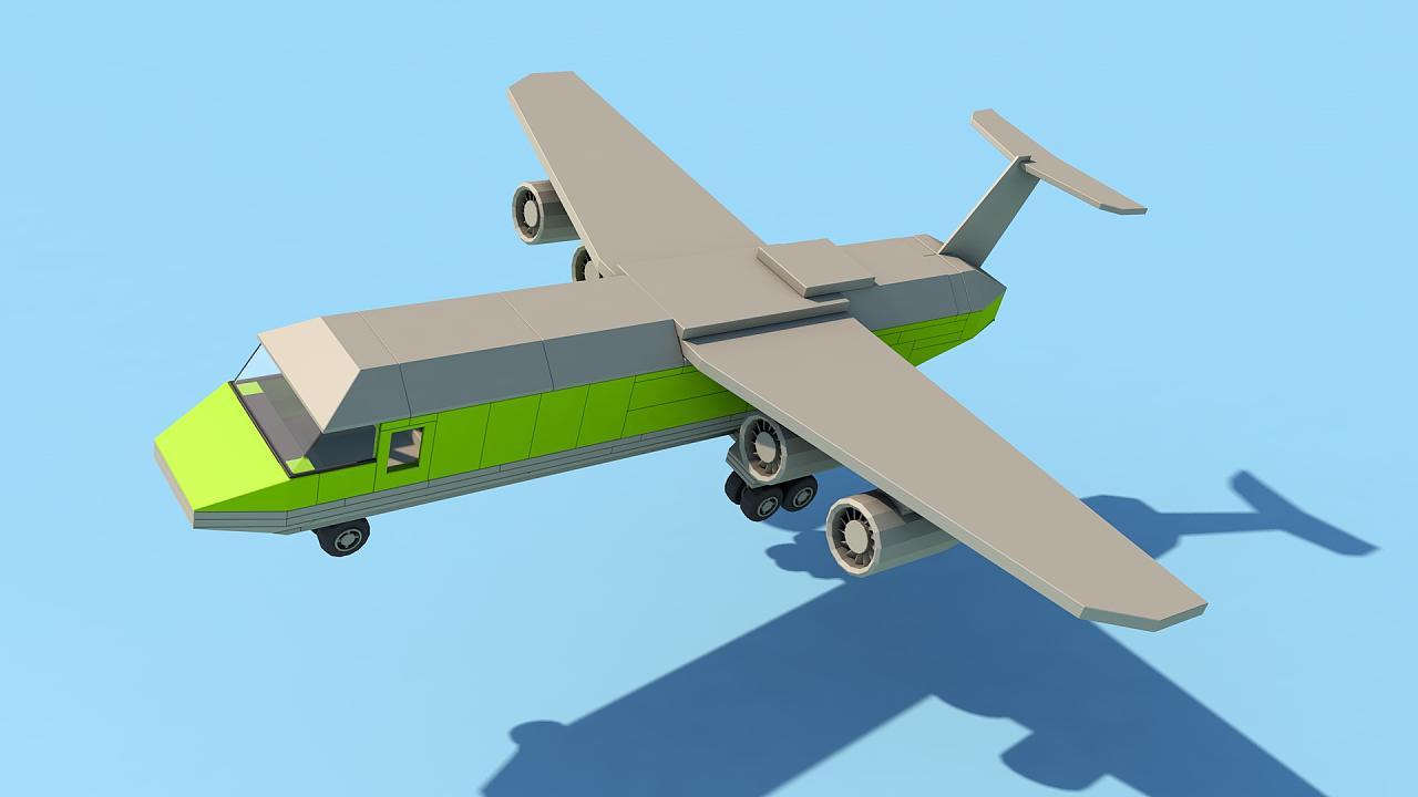 c4d积木飞机|三维|其他三维|叶子大人 - 原创作品