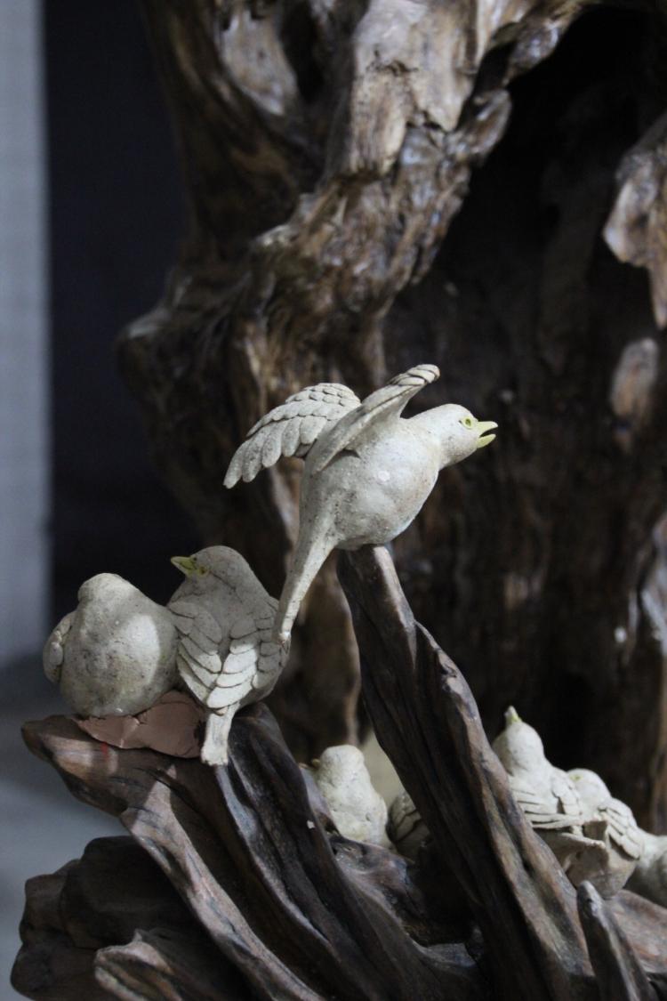 纯手工雕塑编制陶瓷鸟动物等系列