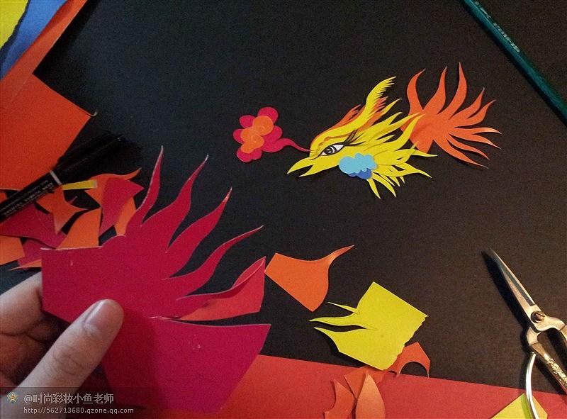 剪纸贴画-凤凰