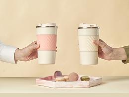 女性咖啡杯,多彩缤纷。