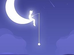 星星吊海豚—插画练习