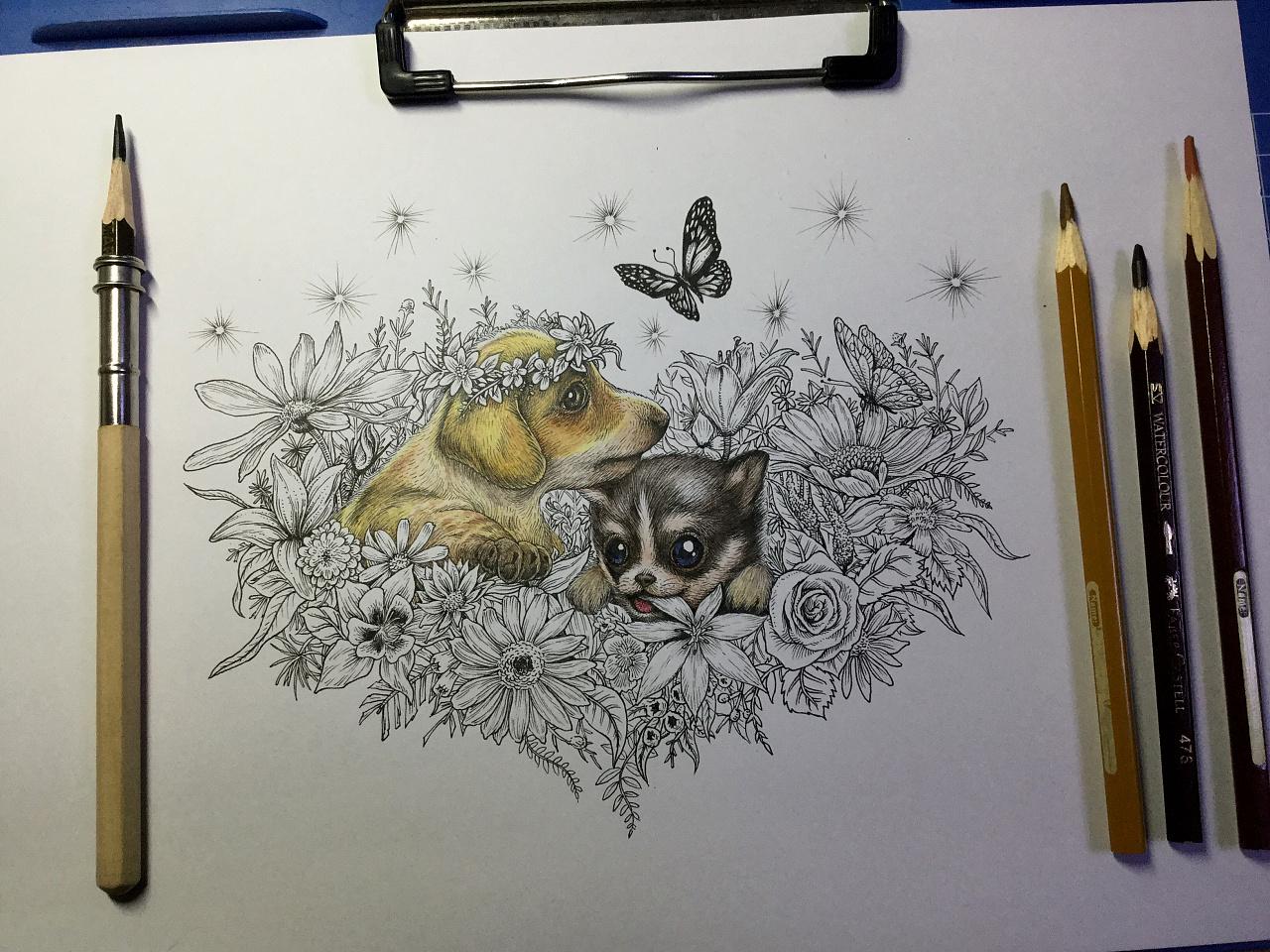 《送你一个春天》纸本彩铅手绘   尺寸:a4