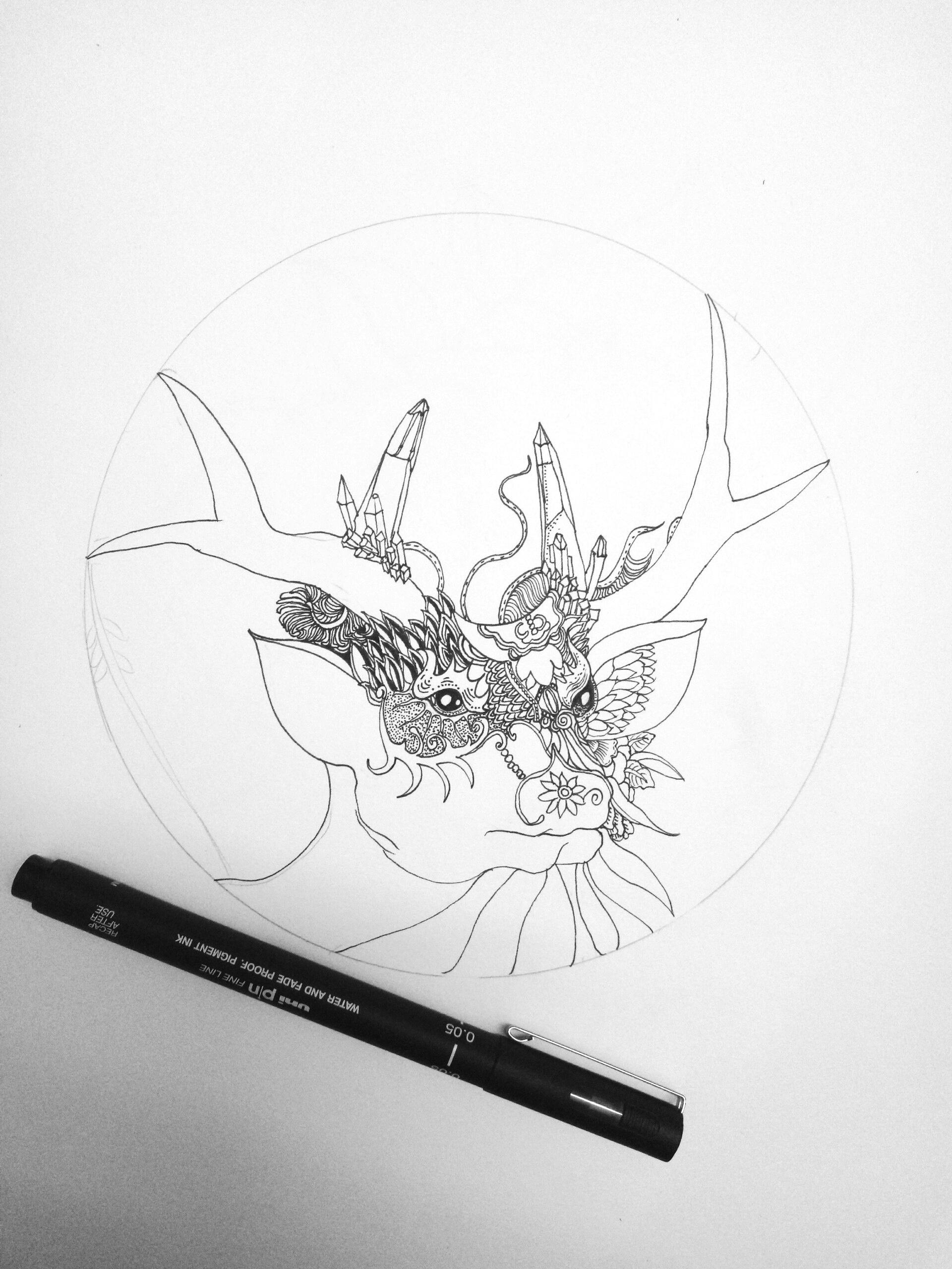 创意手绘麋鹿插画黑白
