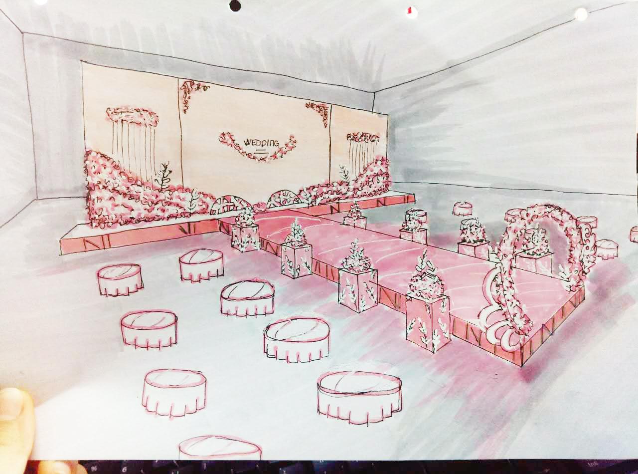 暖粉色室内婚礼手绘图