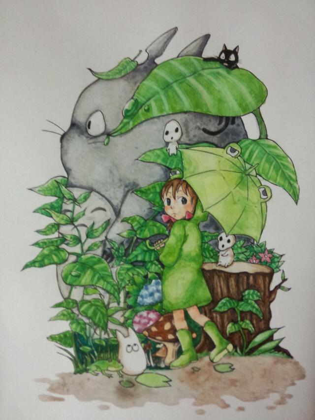 宫崎骏 龙猫水彩 手绘|水彩|纯艺术|所罗门的