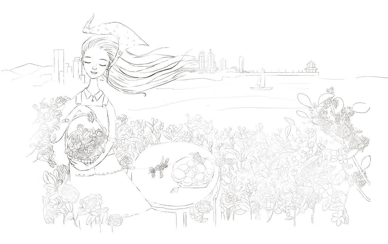 鲜花饼手绘包装
