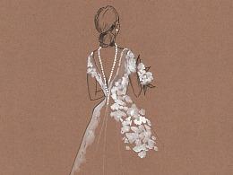 【驴大萌彩铅教程280】手绘时装画 珍珠项链露背小礼服