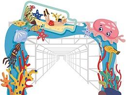 30米夏日海洋灯廊插画设计方案