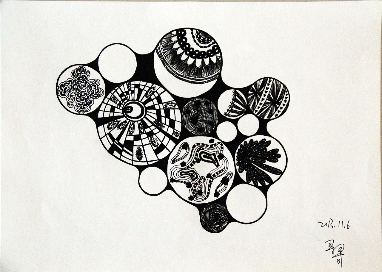手绘,水笔,花型,花纹,图案,黑白画