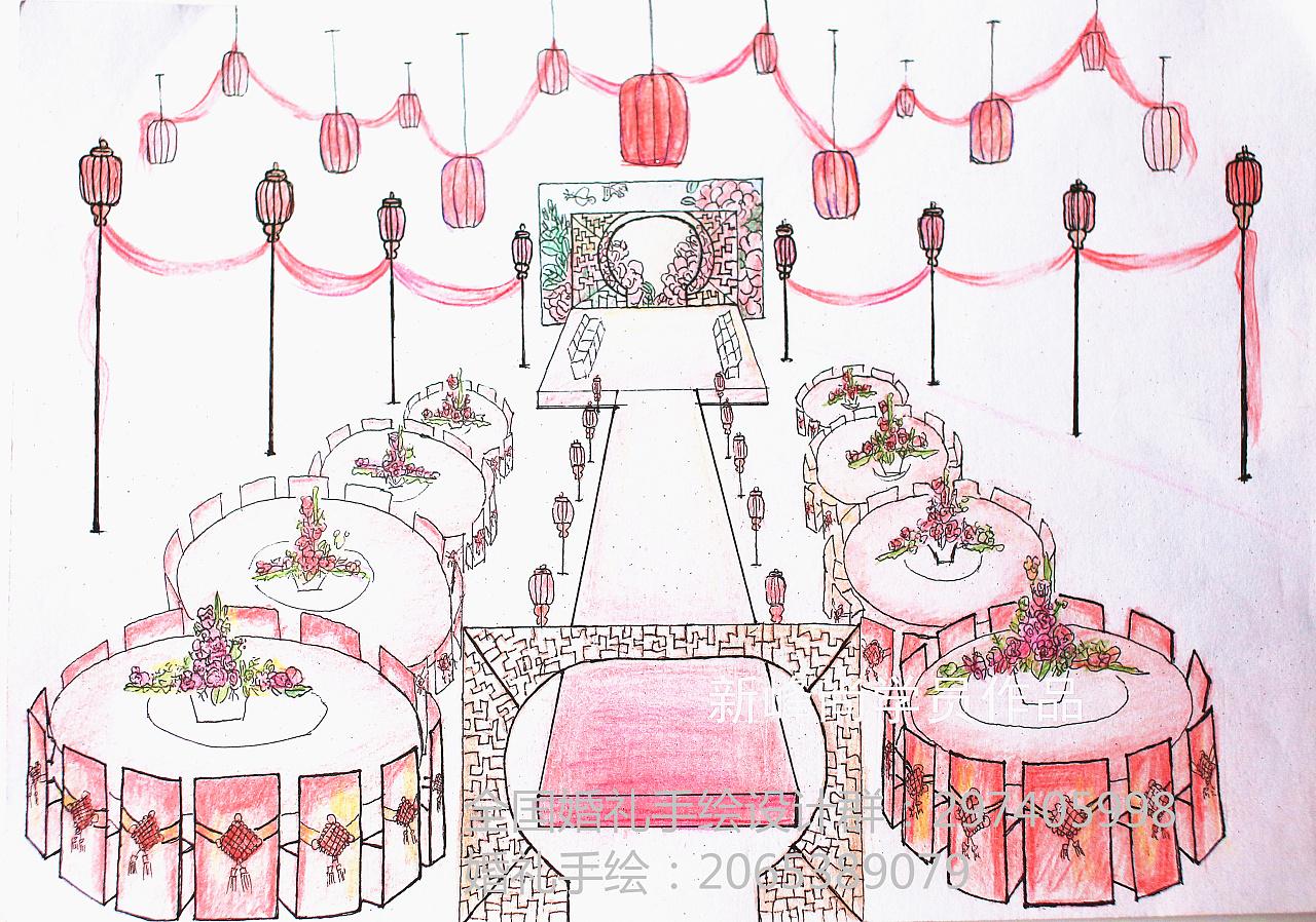 婚礼现场效果图快速的呈现在画纸上,婚礼手绘作为策划师必备技能之一
