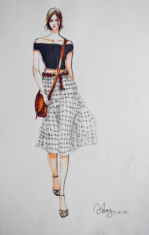 服装效果图手绘|插画习作|插画|_阿坑 - 原创设计作品