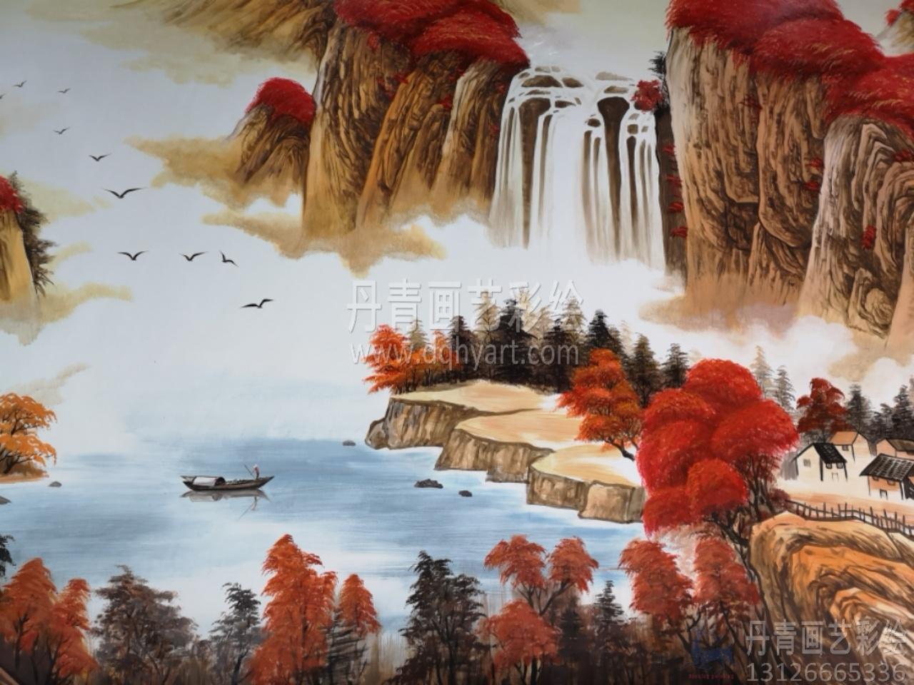 鸿运当头横幅山水画墙绘彩绘涂鸦图片