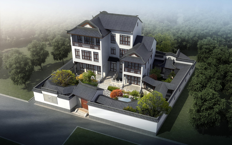 设计图分享 中式屋顶元素的现代建筑的设计图  中式四合院客栈旅馆图片