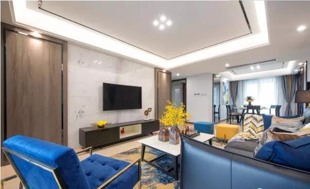 建业运河上院150平港式风格三室两厅装修案例欣赏---电视背景墙图片