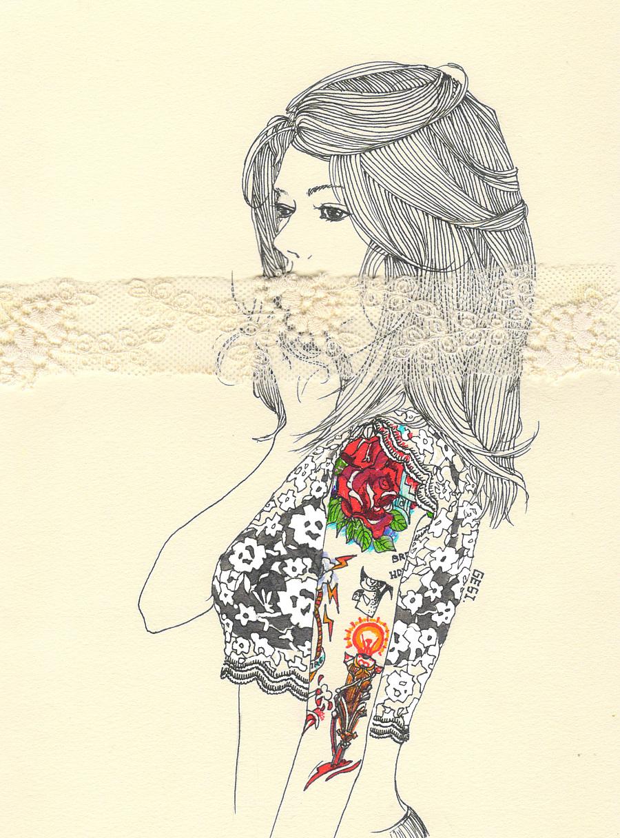 手绘黑白线条[有纹身的女子]|绘画习作|插画|大思