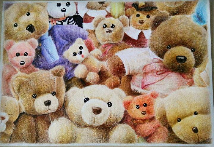 2k彩铅手绘泰迪熊.|彩铅|纯艺术|oliudio