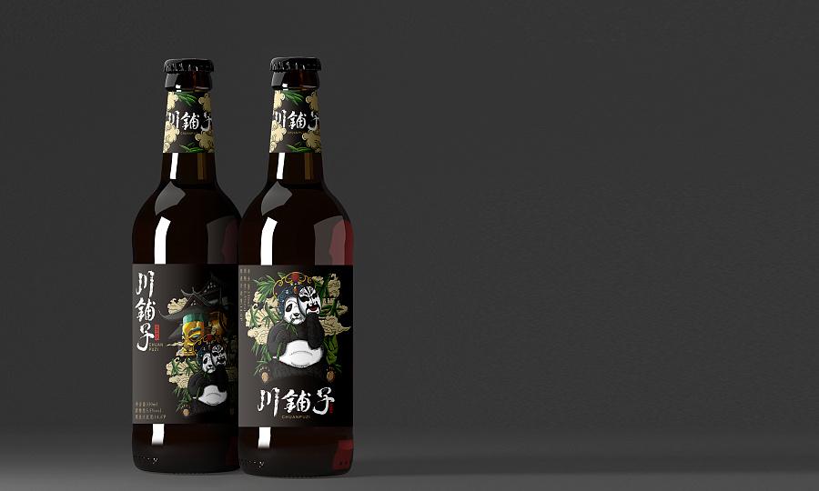 四川省泸州唐人酒业川铺子啤酒手绘包装设计,啤酒包装图片
