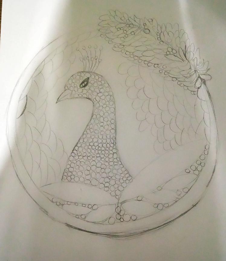 孔雀礼服手绘图