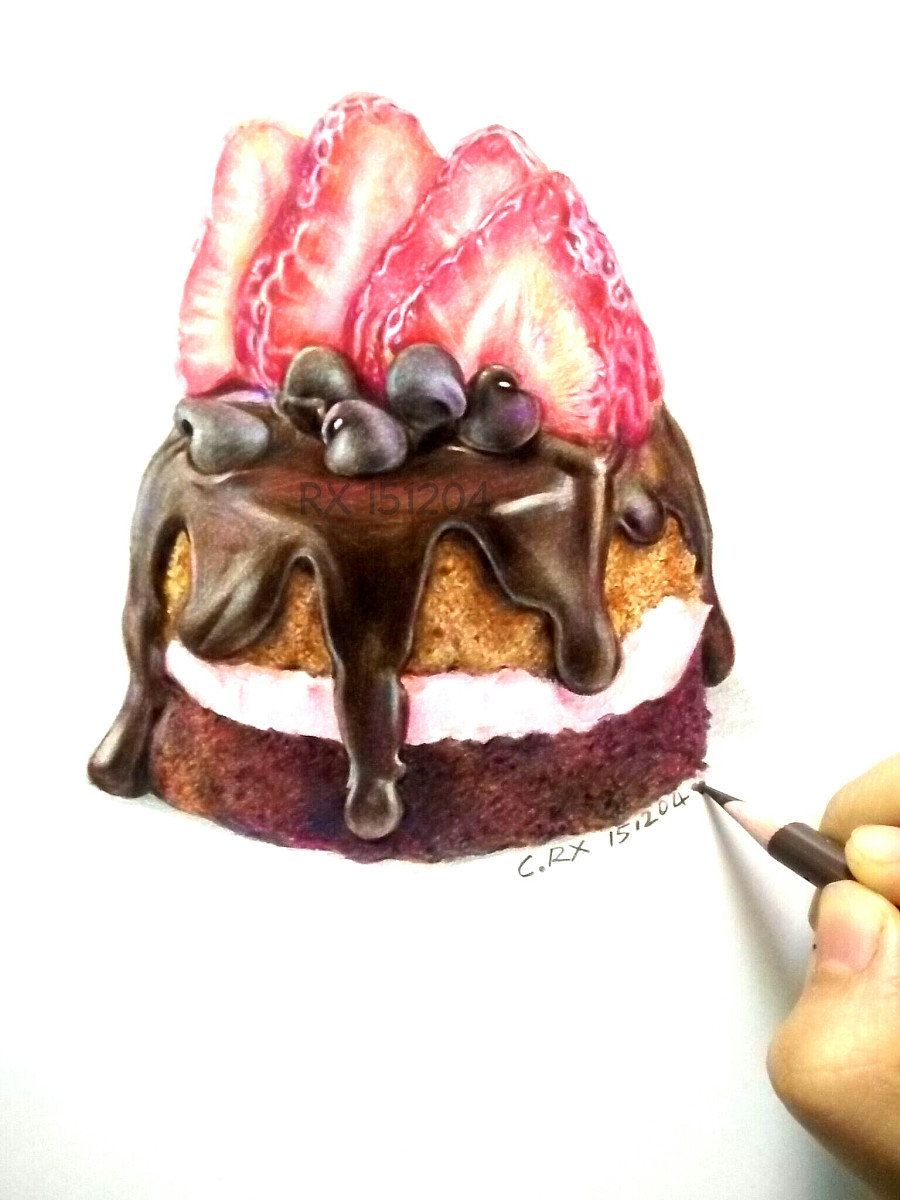 【彩铅甜品】草莓蛋糕