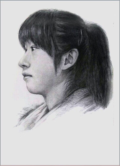 素描女学生头像图片