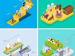 立体插画科技能源AI智能数据金融科研食品农业UI图标