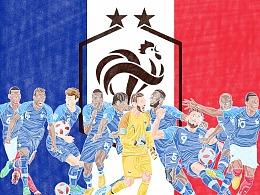 2018年世界杯绘画系列(最终章)——冠军法国加冕两星