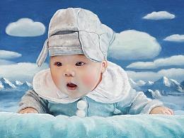 春节创作的仿油画人物肖像画