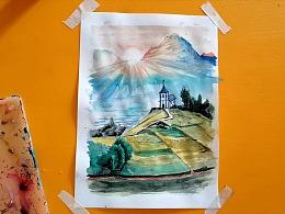 水彩画日出早晨的教堂-小尤说画