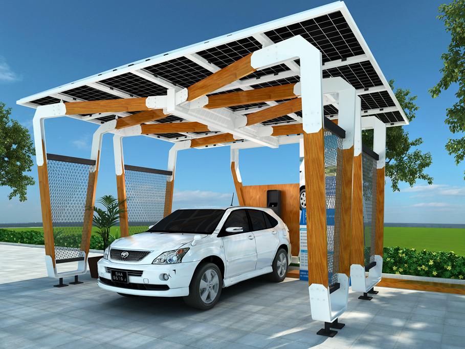 光伏停车廊架钢结构效果图方案设计