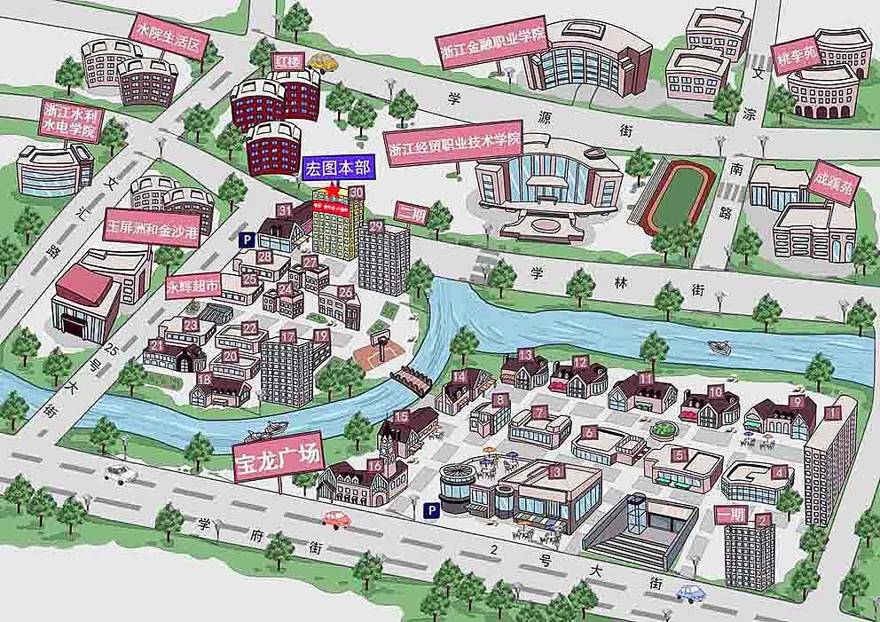游乐园广场宾馆手绘指示图