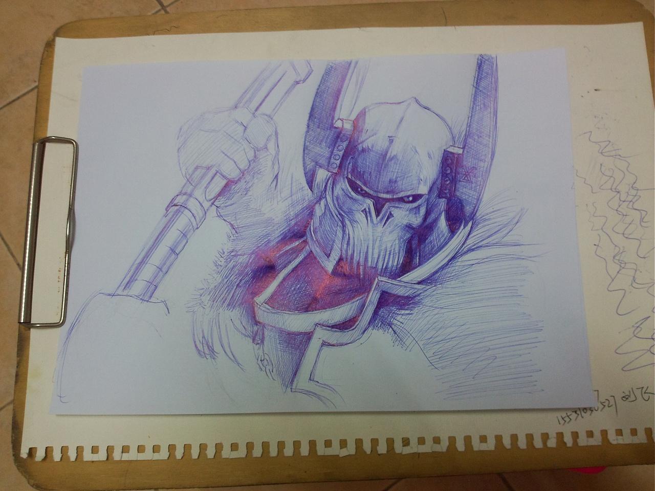 【手绘】圆珠笔—游戏人物|插画|插画习作|紫电闪雷鸣