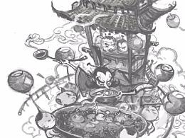 《荤豆花》绘画过程