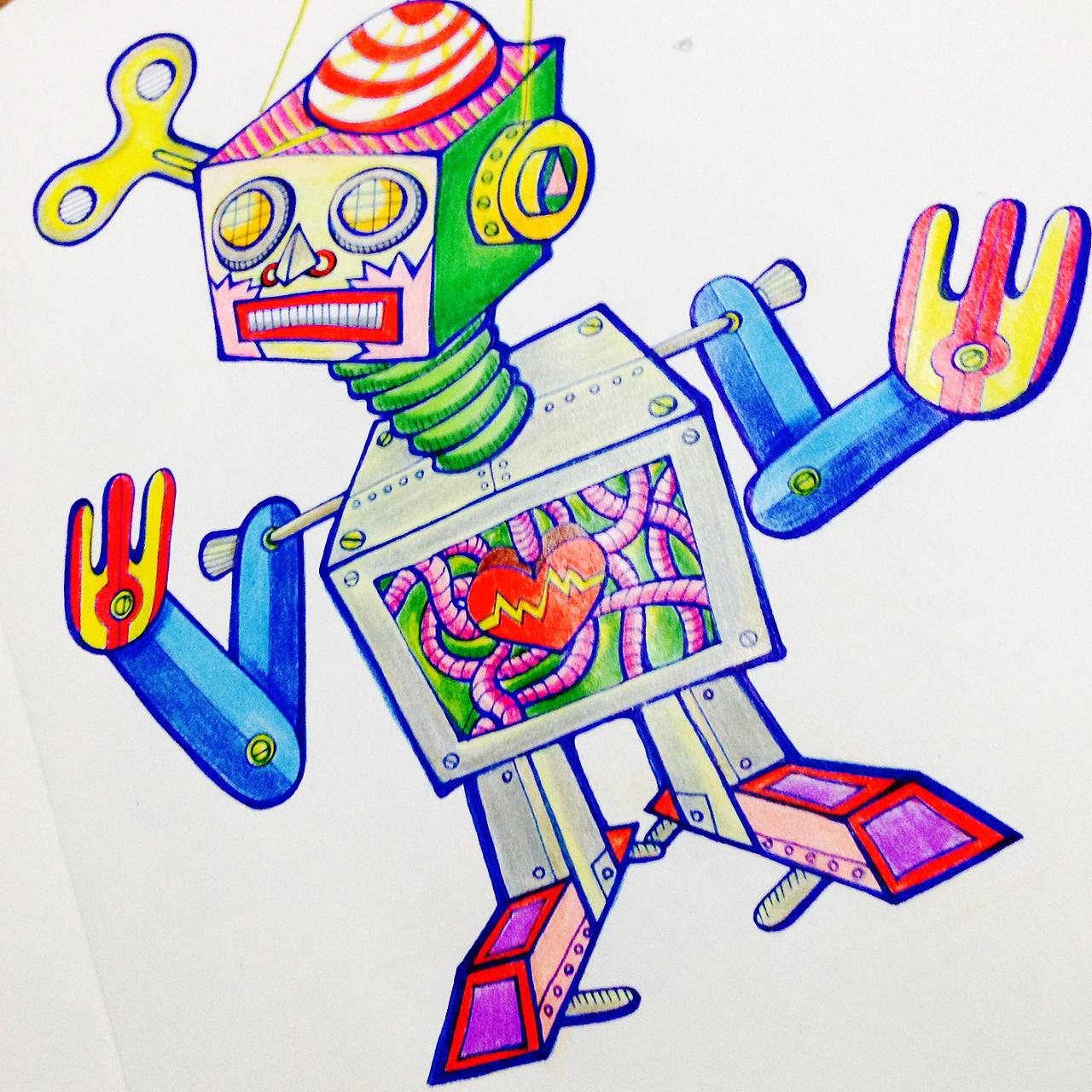 手绘插画涂鸦——铁皮机器人